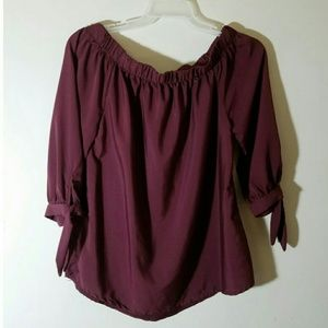 Gorgeous burgandy off the shoulder top